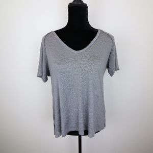 Womens Project Social Gray V Neck Short Sleeve Top